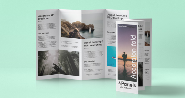 Psd accordion fold mockup us a4 psd mock up templates for Accordion brochure template