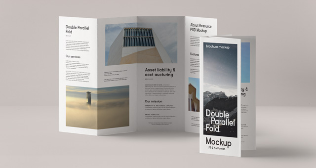 Double parallel fold psd brochure psd mock up templates for Double fold brochure template