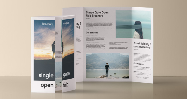 Psd single gate fold mockup vol 2 psd mock up templates for Single fold brochure template