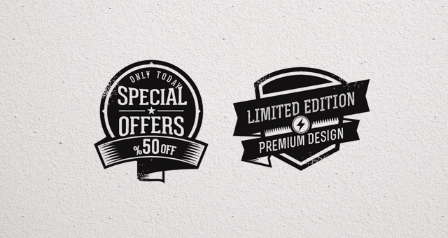 Promo Vector Retro Badges Vintage Decorative Vectors
