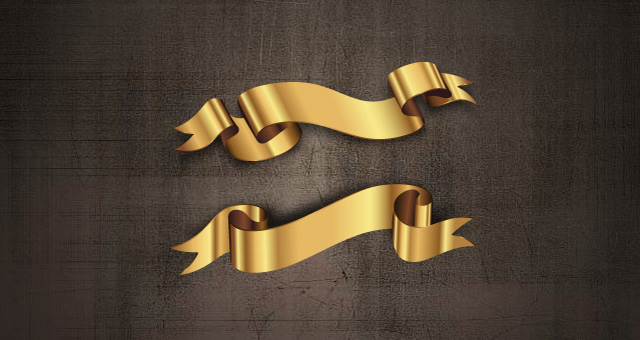 Golden Decorative Vector Ribbons Set 01