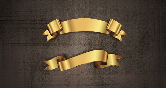 Golden Decorative Vector Ribbons Set 03