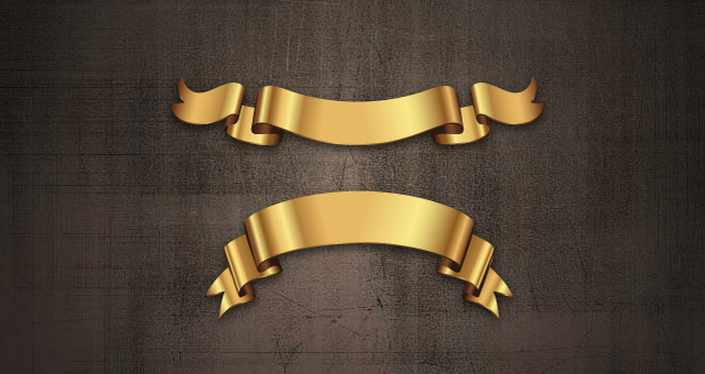 Golden Decorative Vector Ribbons Set 04