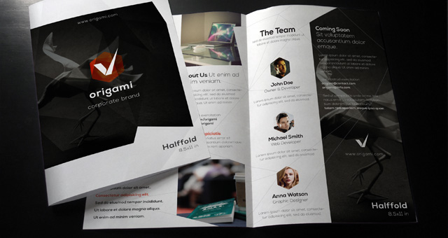 Origami bi fold brochure template brochure templates for Free bi fold brochure template 2