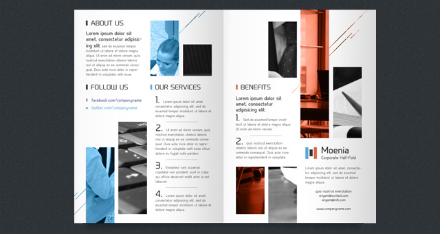 Moenia bi fold brochure template brochure templates for Free bi fold brochure template 2