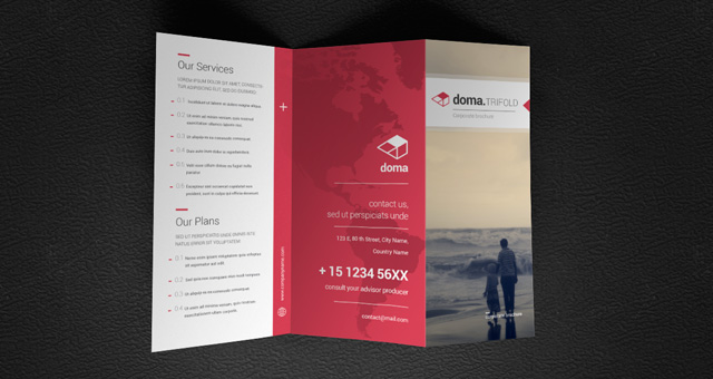 Doma tri fold brochure template brochure templates pixeden for Trifold brochure template