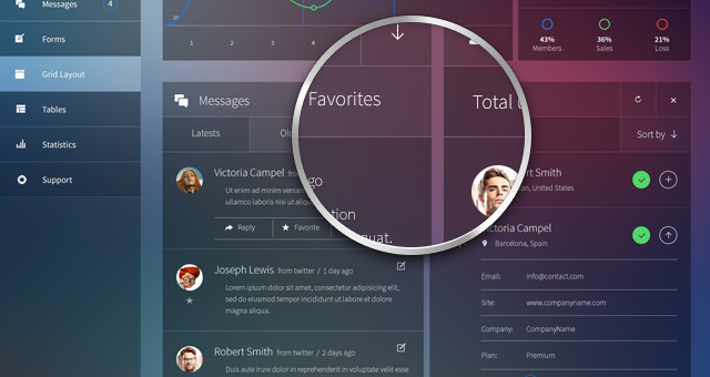 glazzed psd admin panel template