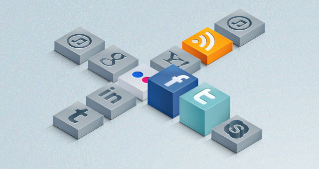 3D Isometric Social Icons Set 01