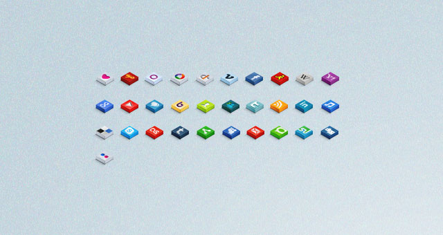 3D Isometric Social Icons Set 03