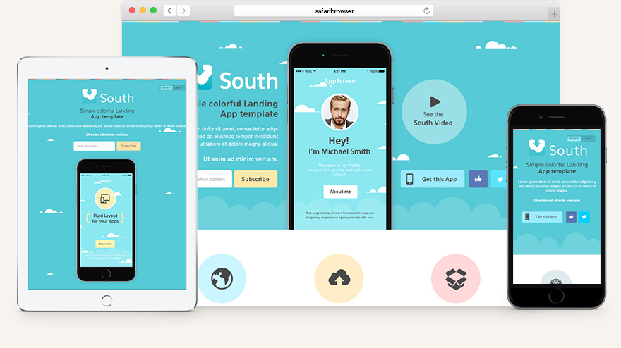South html5 app landing page html5 website templates for Html5 wireframe template