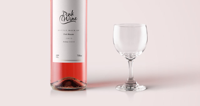 pink wine psd bottle mockup psd mock up templates pixeden. Black Bedroom Furniture Sets. Home Design Ideas