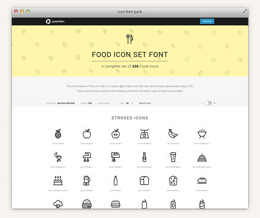 Download The Icons Font Set :: Food | Icon Fonts | Pixeden