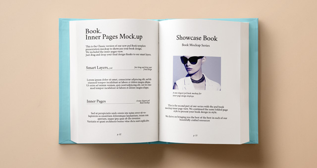 Hardcover Book Cover Template : Psd hardback book inner mockup mock up templates