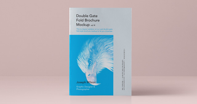 Psd double gate fold brochure vol4 psd mock up templates for Double gate fold brochure template