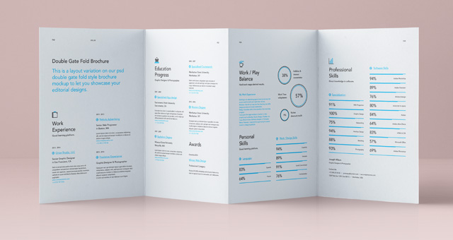 Psd double gate fold brochure vol4 psd mock up templates for 4 panel brochure template