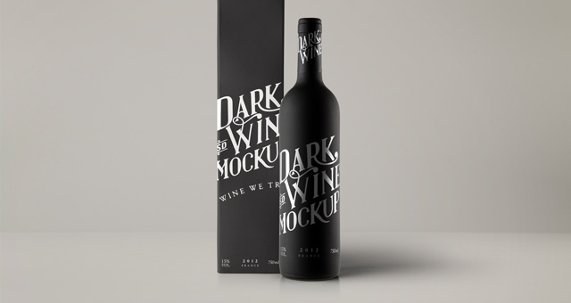 Psd Red Wine Dark Bottle Mockup Psd Mock Up Templates