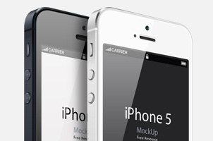 3/4 View iPhone 5 Psd Vector Mockup