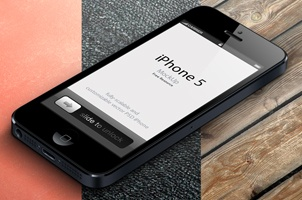 3D View iPhone 5 Psd Vector Mockup