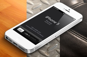 3D View iPhone 5 Psd Vector Mockup White