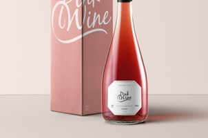 Burgundy Rosé Psd Bottle Mockup