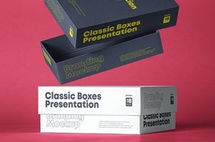 Classic Psd Boxes Branding Mockup