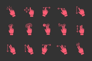 Filled Touch Gesture Icons Set