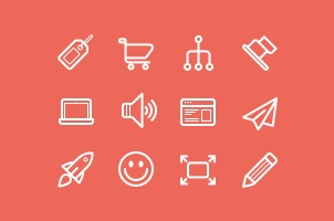 Flat Stroke Line Icons Set Vol4