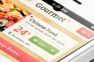 Gourmet iPhone App UI Kit Psd