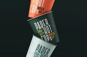 Gravity Paper Cup Psd Mockup