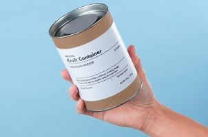 Hand Holding Psd Container Kraft Box