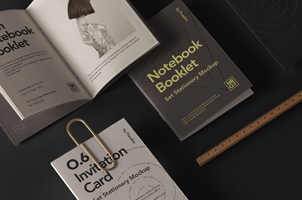 Notebook Psd Booklet Mockup Set