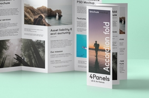 Psd Accordion Fold Mockup US A4