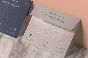 Psd Envelope Card Brand Mockup Vol4