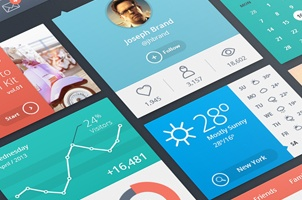 Psd Flat UI Kit Template Vol1