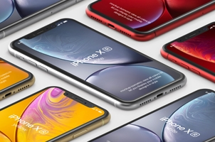 Psd iPhone XR Mockup Isometric Vol2 bis
