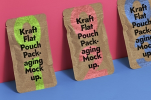 Psd Kraft Flat Pouch Packaging Mockup