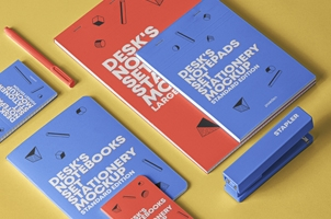 Psd Notepad Mockup Desk Set