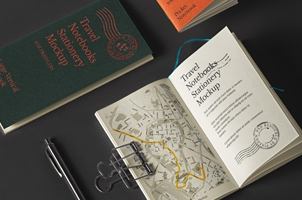 Psd Travel Notebook Stationery Mockup