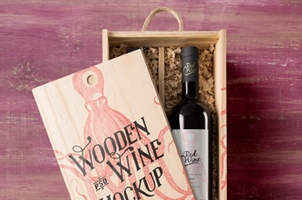 Psd Wine Wood Box Mockup Vol2