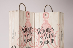 Psd Wine Wood Box Mockup Vol4