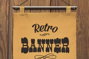 Retro Psd Hanging Banner