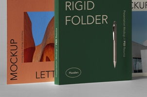 Rigid Psd Folder Stationery Mockup