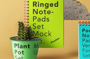 Ringed Psd Notepad Set Mockup