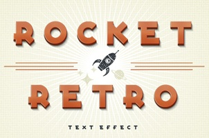 Rocket Retro Psd Text Effect