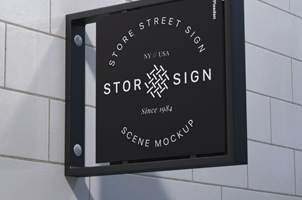 Street Sign Store Signage Psd Mockup