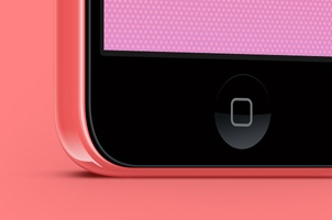Three Quarter iPhone 5C Psd Vector Mockup