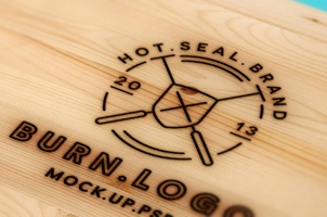 Wood Burning Logo Mock-Up Template