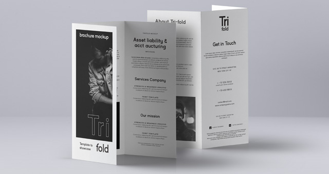 Psd Tri Fold Mockup Us A4 Vol3 Psd Mock Up Templates
