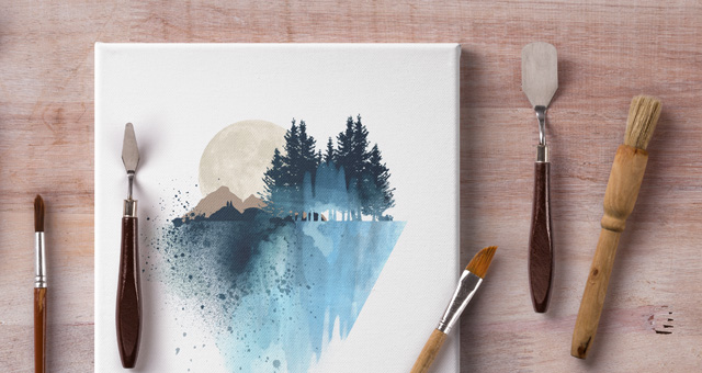 Artistic Psd Art Canvas Mockup Psd Mock Up Templates
