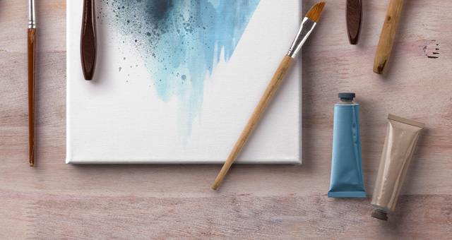 artistic psd art canvas mockup